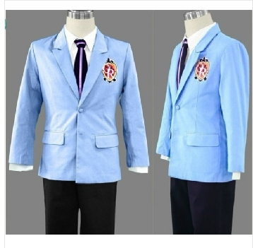 MAN Cool Ouran Host Club High School blue Jacket Cosplay T-shirt Tie Coat Costume Party