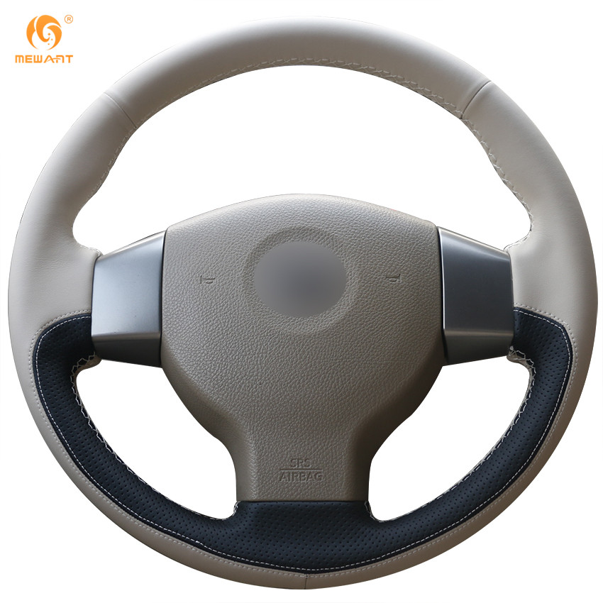MEWANT Beige Leather Black Leather Car Steering Wheel Cover for Old Nissan Tiida Livina Sylphy Note цена
