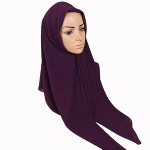 Image 5 - 115*115cm Popular High quality square size bubble chiffon shawls hijab headband wrap muslim 38 color scarves/scarf 10pcs/lot
