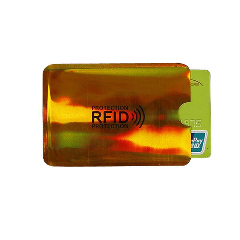5 uds Anti-robo Rfid titular de la tarjeta de crédito del banco funda para tarjeta de identificación titular de la identificación caso Portable tarjetas de visita titular de la tarjeta de seguridad