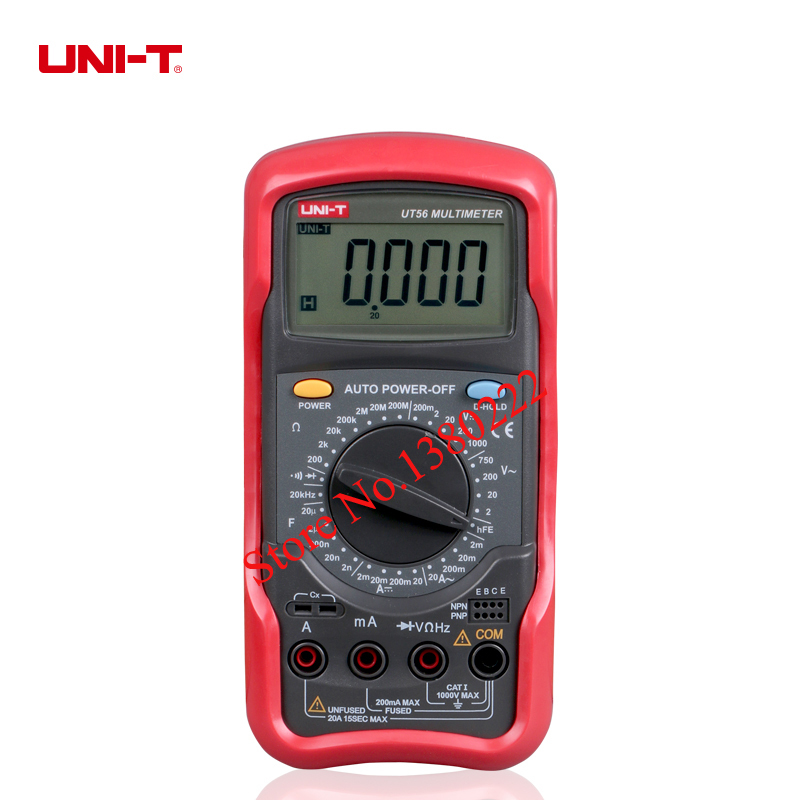 UNI-T UT56  Digital Multimeter Portable Voltmeter Tester Meter  AC/DC frequency multimeter Ammeter Multitester uni t ut56 digital multimeter ac dc voltage current resistance capacitance frequency meter tester voltmeter ammeter