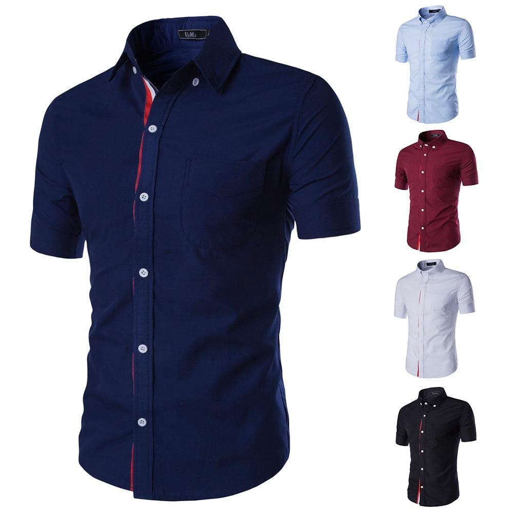 2017 Neue Sommer Herren Kurzarm Shirts Slim Fit Camisa Masculina Casual Herren Hemd Soical Mode Chemise Homme 9066 Mangelware