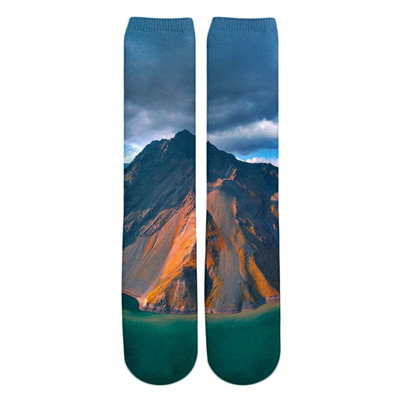 PLstar Cosmos 2018 New style Fashion Knee High Socks a moody evening at the great wall Nature Print 3d Men's Women's Sock 2