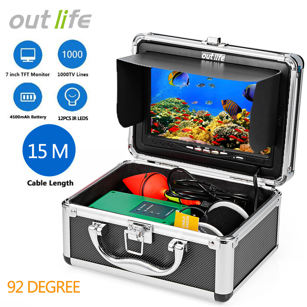 Outlife F007M-15 mt-IR Professionelle Angeln Finder Detektor Fisch Finder Mit Video 7 zoll TFT HD Kamera infrarot Lampe Angeln