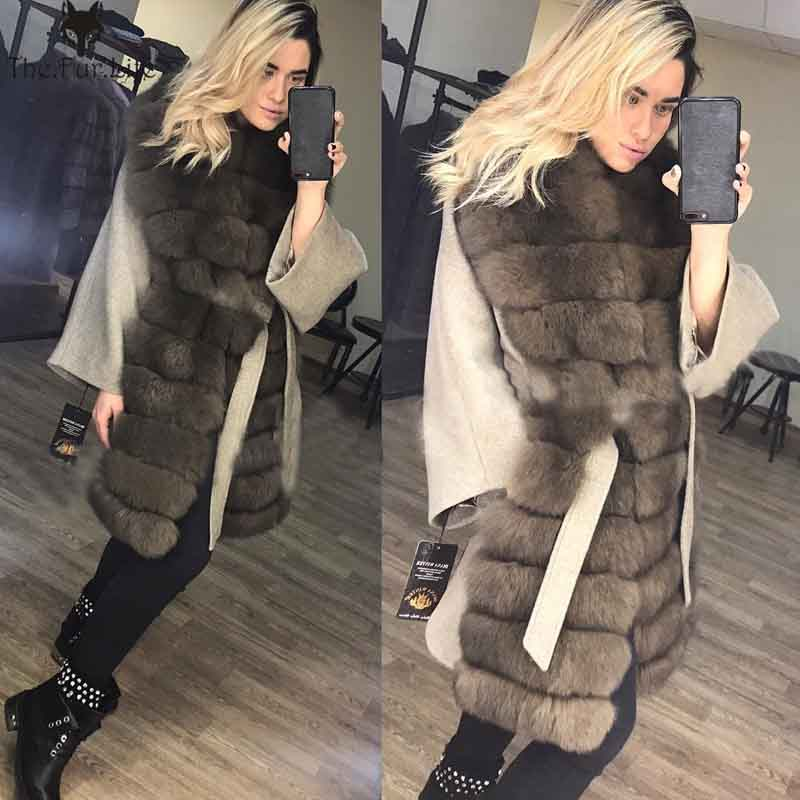 2018 New Woolen Fur Coat Women Real Fox Fur Collar Sable Color Natural Fur Jackets With Belt Slim Genuine Fur Jackets Outerwear