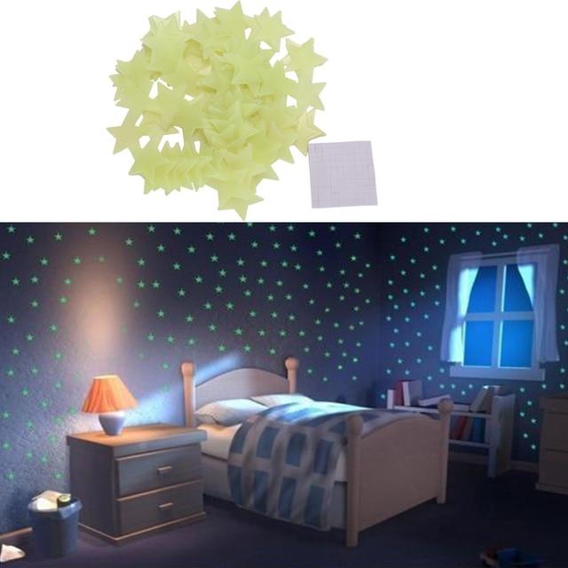 100pcs 3d stars glow in the dark wall stickers luminous fluorescent