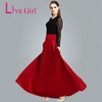 Liva Girl Winter Long Skirts High Waist Pleat Elegant Maxi Skirt Red Black Women Faldas Saia