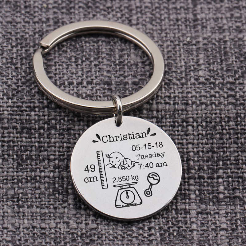 Baby Stats Weight Length Custom Name Funny Cute New Dad Mom Keepsake Baby Birth Round Keychain Jewelry Gift Commemorate Engrave
