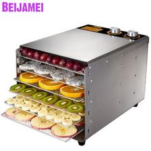 BEIJAMEI 6 Trays Food Dehydrator Snacks Dryer Commercial Stainless Steel Fruit Vegetable Herb Meat Drying Machine цена