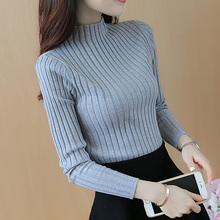 2017 Autumn and winter New  Korean Half turtleneck Sweater jacket Womens Long Sleeve Set head All-match knitted Sweater woman