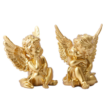 цена на 2Pcs American Creative Gold/ White Lovely Angel Resin Home Ornaments Crafts  Exquisite Gift Cupid White Angel Statues Decoration