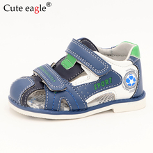 лучшая цена Cute Eagle Summer Boys Orthopedic Sandals Pu Leather Toddler Kids Shoes for Boys Closed Toe Baby Flat Shoes Size 22-27 No.A191
