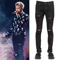 2016 Black Ripped Denim Pant Knee Hole  Biker Jeans Men Slim Skinny Destroyed Torn Jean Pants fear of god jeans