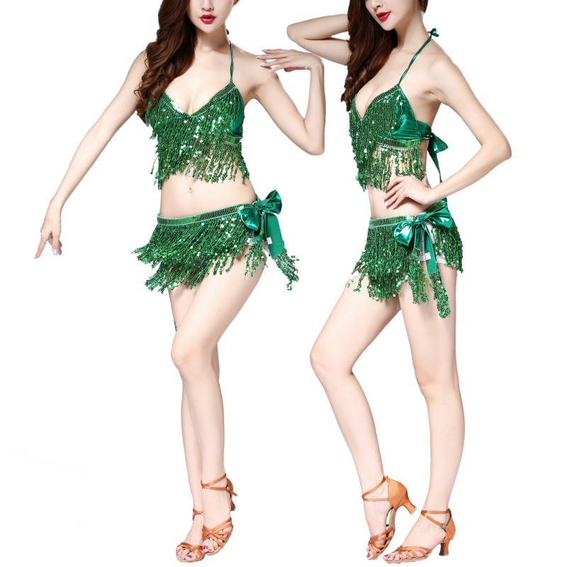 Belly Dance Latin Sequined Fringe Halter Top Bra Belt Hip Skirt Dress Performance Set Sexy Party Cosplay Costume 7324