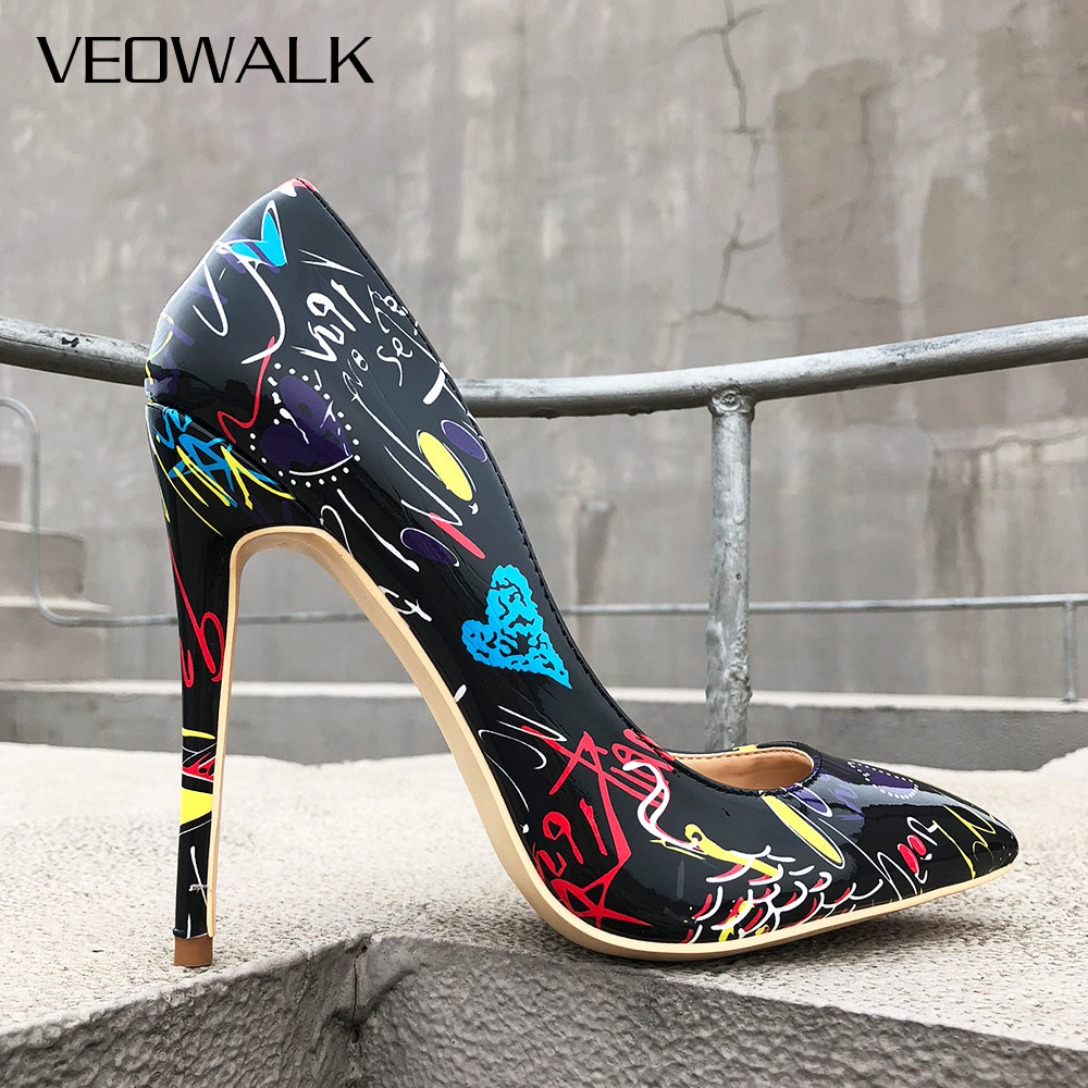 Veowalk Artistic Graffiti Print Women Sexy Stiletto High Heels Black Ladies Party Pointed Toe Pumps Shoes Customized Accept