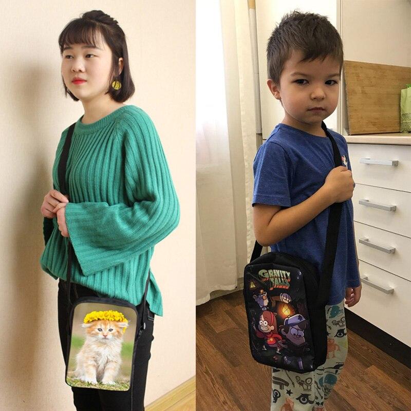 Cute Kitten Mini Messenger Bag Cat Eating Tacos Pizza Crossbody Bag Women Handbags Children Shoulder Bags Kids School Bags