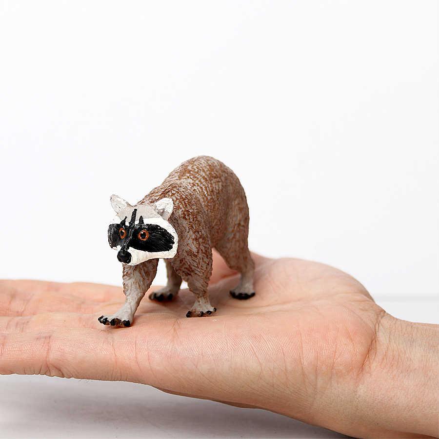Guaxinim realista Figuras de Animais Da Floresta, o Texugo, tamanduá Urso modelo figura de ação brinquedos Educativos PVC figura de brinquedo de Presente Para O Miúdo