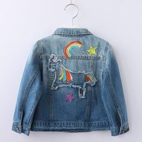 Baby Girls Denim Coats Rainbow Unicorn Embroidery Jeans Jackets For Girl Toddlers Denim Jackets Kids Outerwear Autumn Jacket