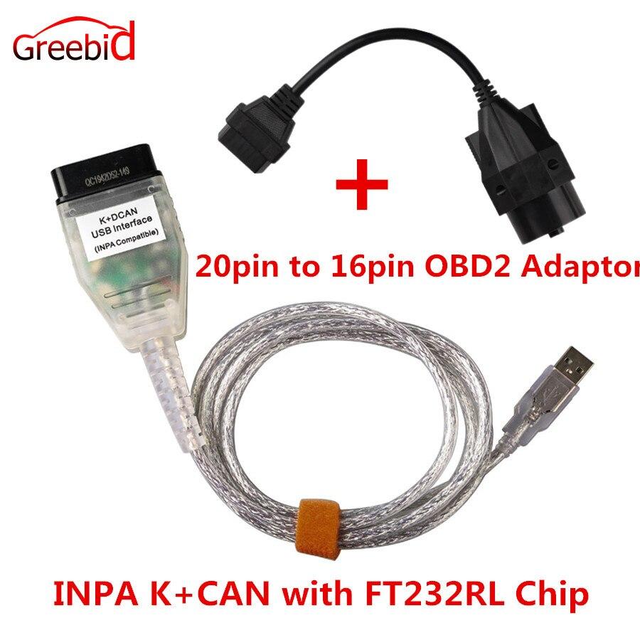Para BMW INPA K + K PODE INPA K DCAN Interface USB INPA Com FT232RL Chip Mais 20pin para 16pin OBD2 Adaptador Conector para BMW