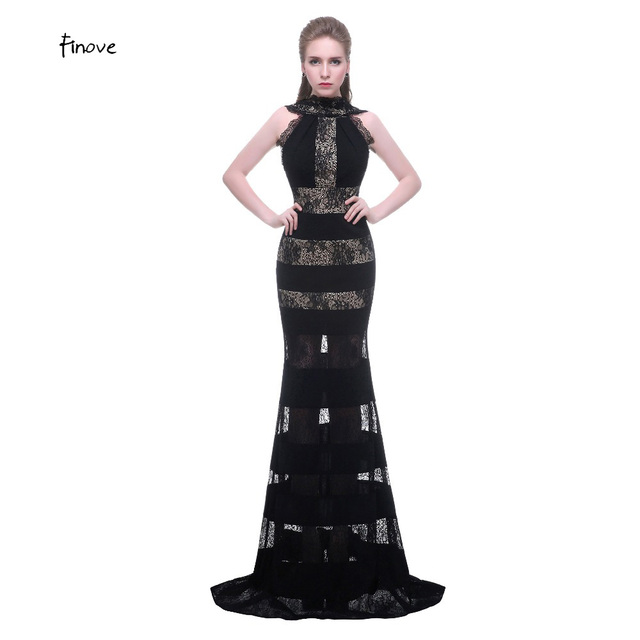 Gaun Pesta Leher Tinggi Backless Unik Evening Gown Terjangkau Lace
