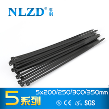 High Quality 250pcs 5*350mm Durable Nylon Cable ties Black Color Width 3.6mm zip tie for wires pipes binding 8 10 12 14 inches