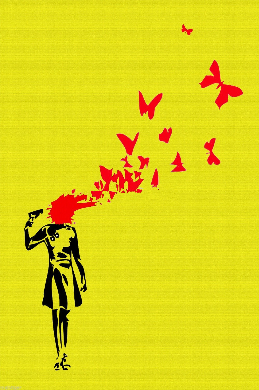 Graffiti Suicide Butterfly Gold London BANKSY huge canvas painting ...