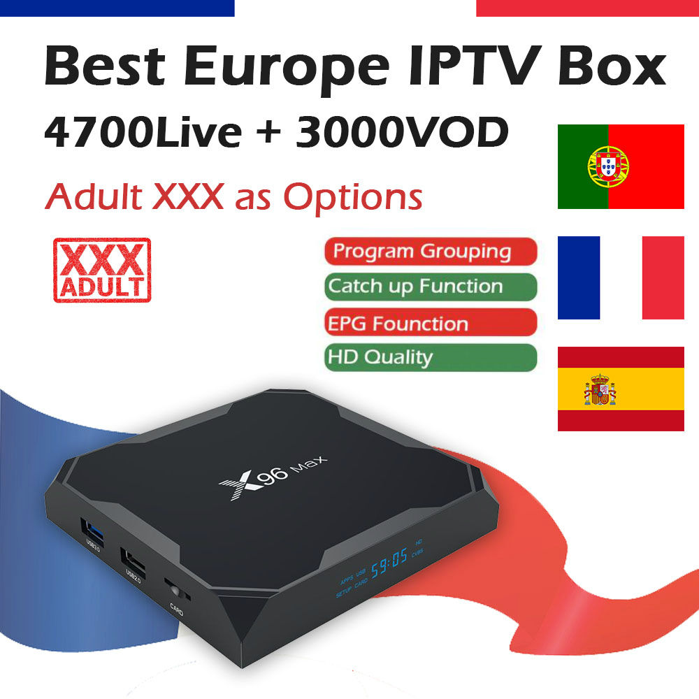 Best X96 Max Android 8 1 Smart TV Box with 1 Year Spanish French Portuguese KING