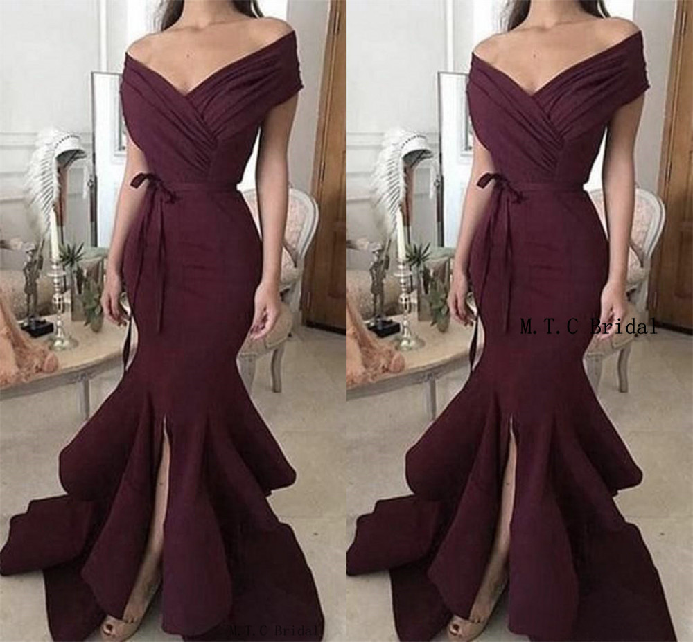 Simple Purple Mermaid   Prom     Dresses   Off The Shoulder Front Slit Long Formal Evening Gowns 2019 Hot Selling Women Party   Dress