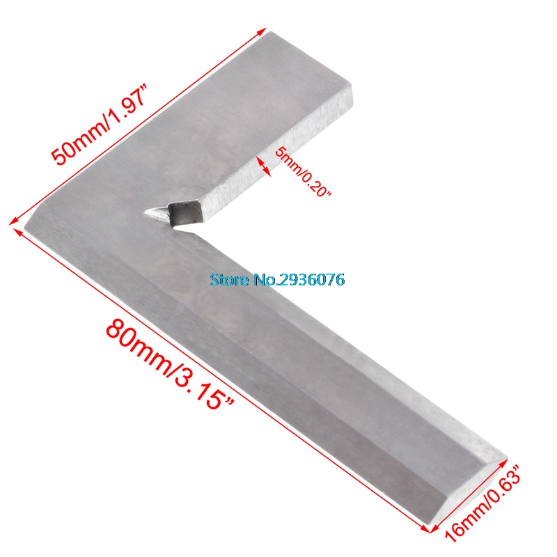 цена 80*50mm Angle Square Ruler Broadside Knife-Shaped 90 Degree Angle Blade Ruler Gauge Blade Measuring Tool