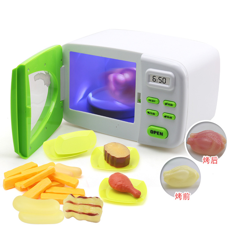 Simulation Cooking Microwave <font><b>Toys</b></font> Electric Lights <font><b>Kitchen</b></font> Foods Change Color Girl's <font><b>Kitchen</b></font> <font><b>Set</b></font> Play Indoor Game Kid <font><b>Toys</b></font> image