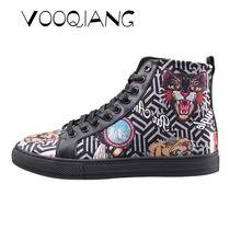 50232147123 VOOQIANG модные Для Мужчин Вулканизированной Обуви 3D Животные Тигр Волк  Обувь с высоким берцем Собака Хаски