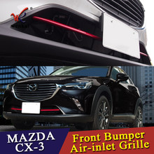 ABS Chrome Car Front Grille Trims For Mazda CX-3 2016 2017 2018 Front Bumper Air-inlet Grille 2pcs/lot(China)