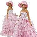 Вечернее Платье Для Куклы Барби 8 Слоя Свадебное Платье Мебель Для Кукол Кукольный Одежда Для Куклы Барби Аксессуары С Hat