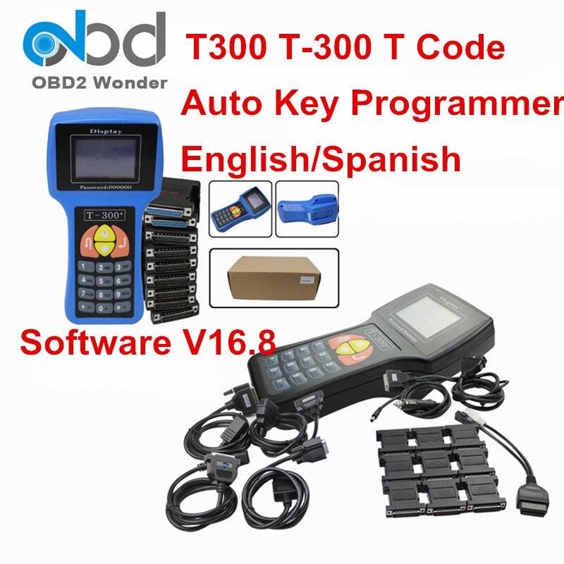 Цена за Цвет: черный, синий Универсальный T-300 t 300 авто ключ производитель T300 2016 V16.8 автомобиля OBD2 Ключевые программист английский испанский дополнительно t код Декодер