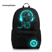 цена Senkey&Style Computer Backpack Middle Student School Bags Men's Luminous USB Outdoor Backbags Casual backpack Men Travel Packbag онлайн в 2017 году