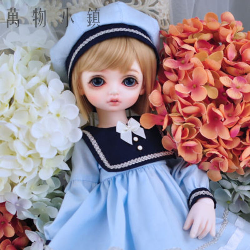 New Lovely Pink/blue /white Sailor suit Dress for BJD 1/3 1/4 1/6 SD MSD YOSD Doll Clothes handsome grey woolen coat belt for bjd 1 3 sd10 sd13 sd17 uncle ssdf sd luts dod dz as doll clothes cmb107