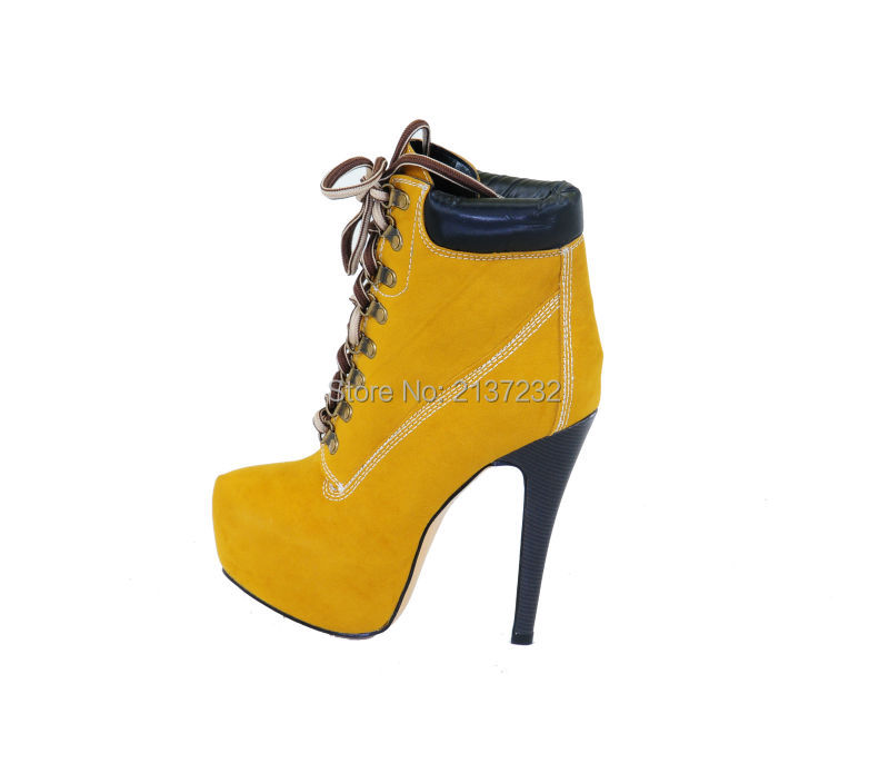 2016 New fashion Closed toe stiletto Yellow boots Cross-strap lace-up Ankle high Boots with platform for party Dress big Size15 professional customize 17cm platform high heeled stiletto stage shoes fashion strap boots black strappy ankle boots
