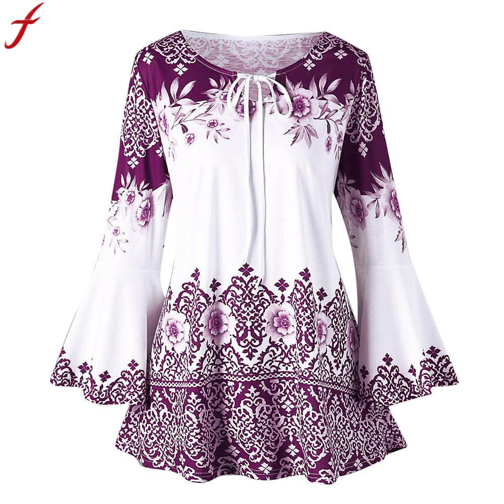 2018 Frauen Vintage Shirt Mode Für Frauen Big Größe Floral Gedruckt Flare Hülse Tunika Tops 5xl Plus Größe Blusen Für Frauen Camisa
