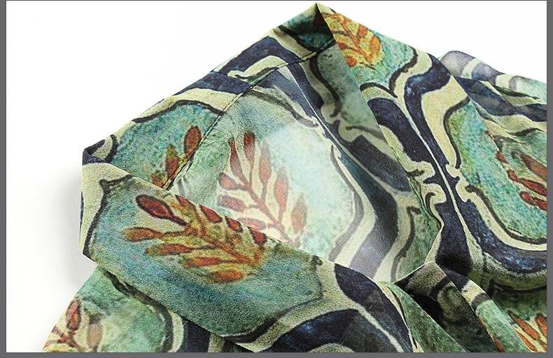 High end women vintage royal print floral silk blouse shirt European runway long sleeve elegant lady OL casual shirt S 3XL - 4