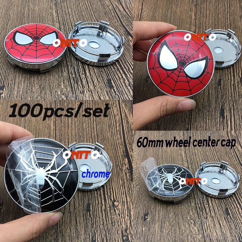 Hot 100PC Chorme Car Wheel Center Cap Aluminum Cobweb Spider Man Emblem Sticker 60mm 2.36 Car Styling Rim Hub Cap Cover