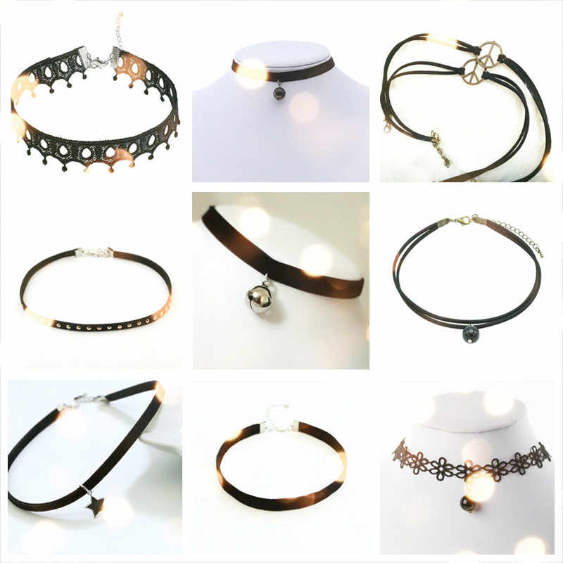 New Fashion 1 Pcs/Sell Choker Necklace Black Lace Leather Velvet Strip Woman Collar Party Jewelry Neck Accessories Chokers