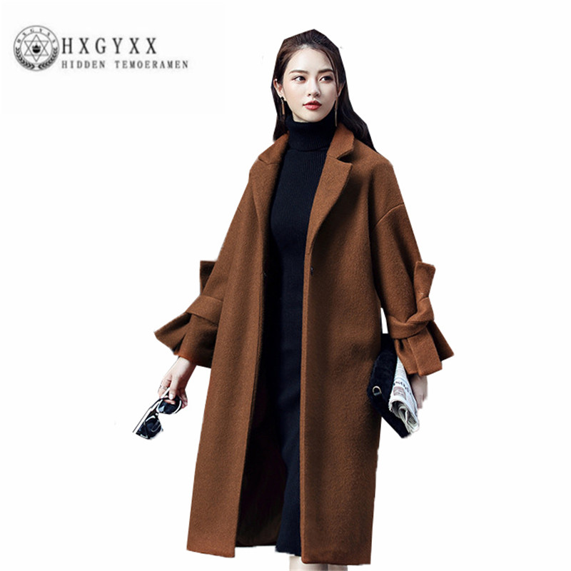 2018 Loose Long Female cloth Parka High quality New Winter Women wool Coat Thicken Caramel straight Big yards Outerwear ZX0262