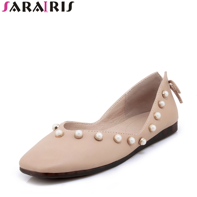 SARAIRIS 2018 Spring Autumn Sexy Shallow Plus Size 30-44 Loafers Pearl slip-on Flats Square Toe Casual Women Shoes sarairis 2018 spring autumn hot sale