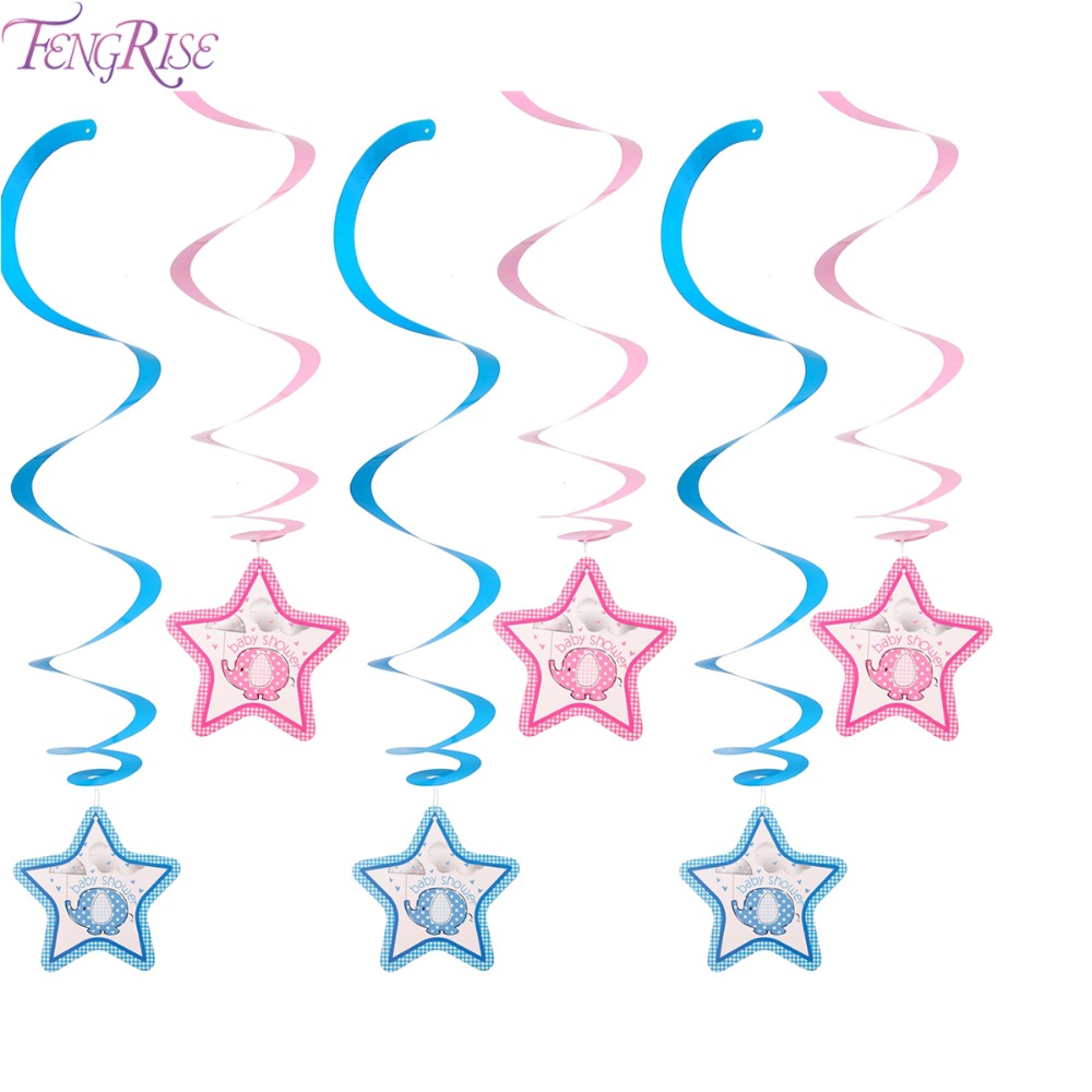 FENGRISE 6pcs Baby Shower Elephant Star Hanging Swirl Decorations Its A Boy Girl 1st Birthday Party Hanging Decor Supplies
