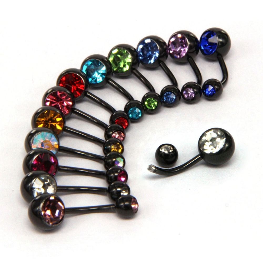 Black Gun Belly Button Ring Piercing Body Jewelry Titanium Steel ombligo nombril Bent Bar Rhinestone Navel Stud in promo