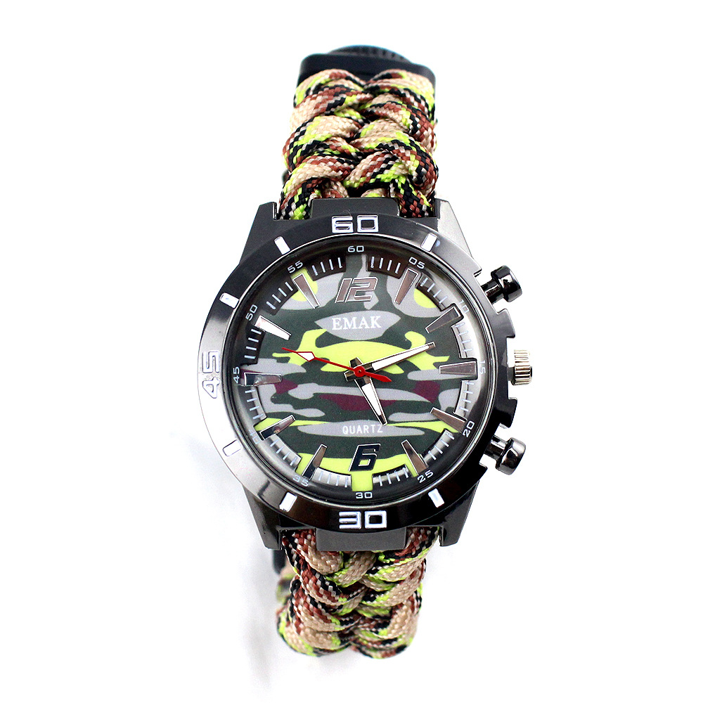 EMAK Survival watch Multi-functional Outdoor Camping Compass Thermometer Rescue Rope Paracord Bracelet Equipment Tools Kit
