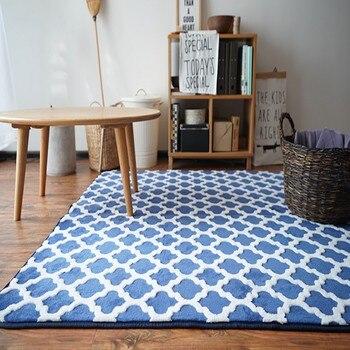 Nordic style blue geometric carpet ,big size living room carpet, Pastoral home decoration bedside carpet, tatami mat