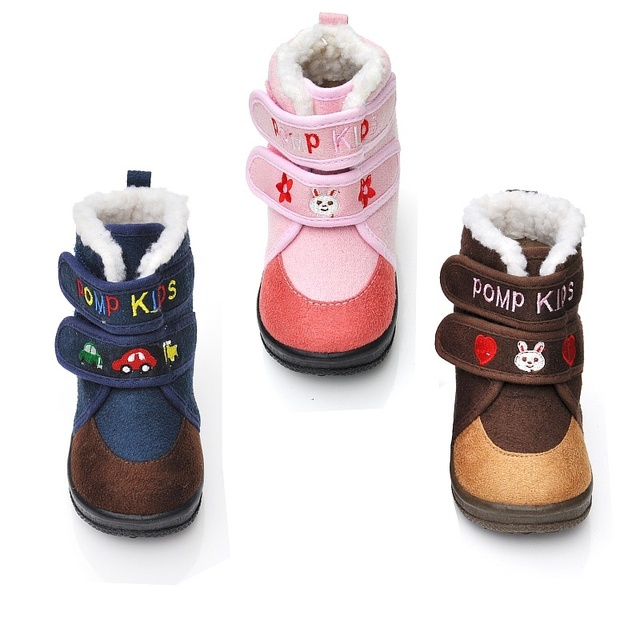 Pomp padded kids toddler shoes soft baby shoes slip-resistant outsole autumn and winter