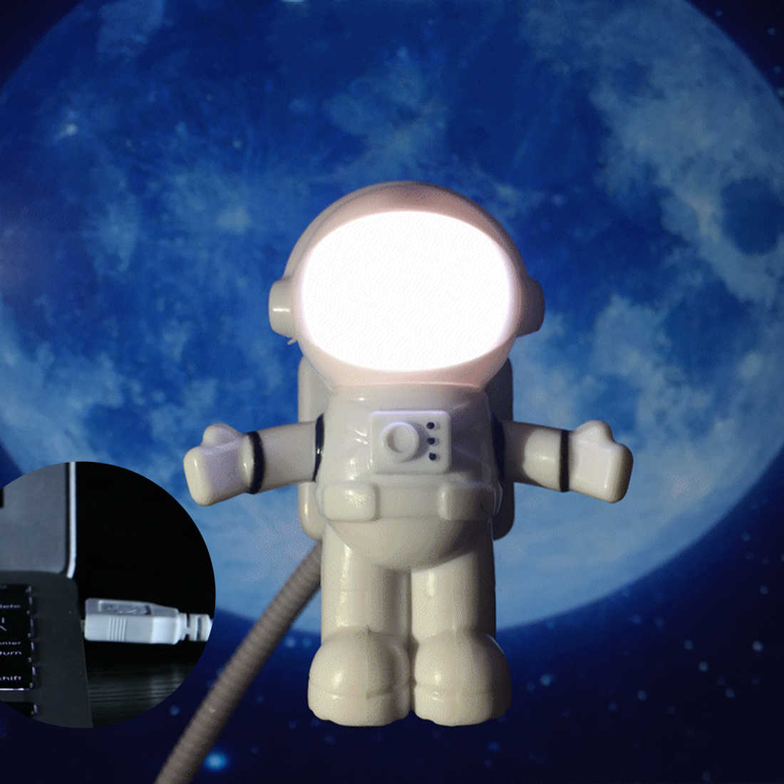 1pcs Astronaut Spaceman USB LED Adjustable Night Light For Computer PC Lamp Desk Light Pure White
