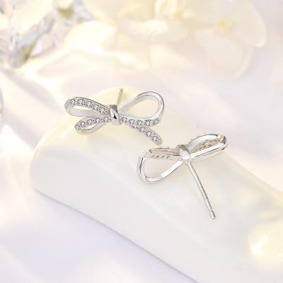 Funmor Elegant Bow Knot 925 Sterling Silver Earrings AAA Zircon Jewelry Girls Women Wedding Banquet Party Accessories Gifts